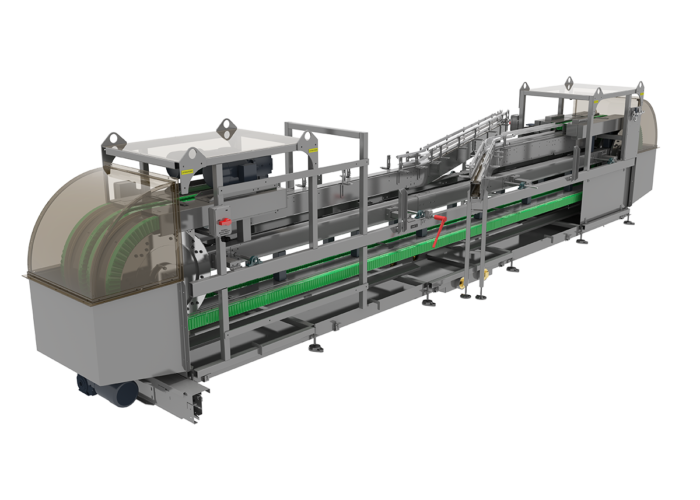 Continuous motion ArrowAction® Water Rinser Conveyors from Arrowhead Systems