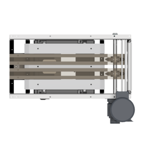 Top View of Rollerless Case Conveyor