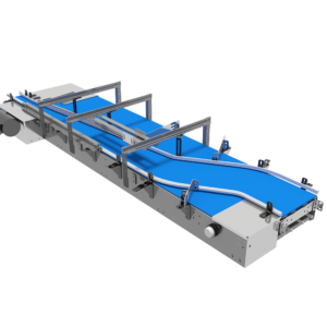 First Side View of Single Lane Combining Mat/Table Top Conveyor