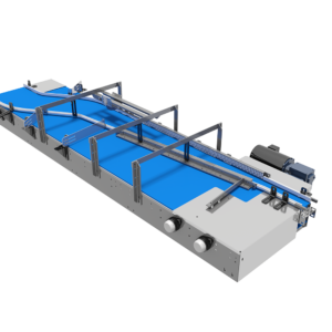 Top Angle View of Single Lane Combining Mat/Table Top Conveyor