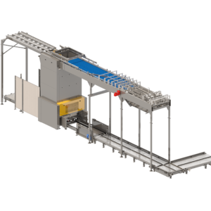 Side View of Palletizer / Depalletizer Sorter System